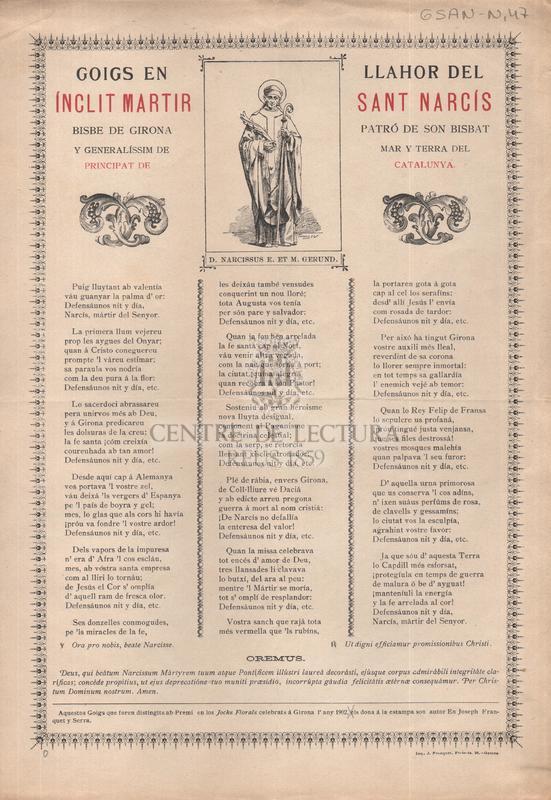 Goigs en llahor del inclit martir Sant Narcís bisbe de Girona patró de son bisbat y generalíssim de mar y terra del Principat de Catalunya