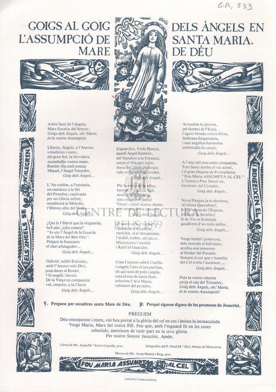 Goigs al goig dels àngels en l'Assumpció de Santa Maria Mare de Déu