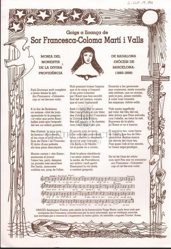 Goigs a lloança de Sor Francesca-Coloma Martí i Valls, monja del Monestir de la Divina Providència de Badalona - Diòcesi de Barcelona- (1860-1899)