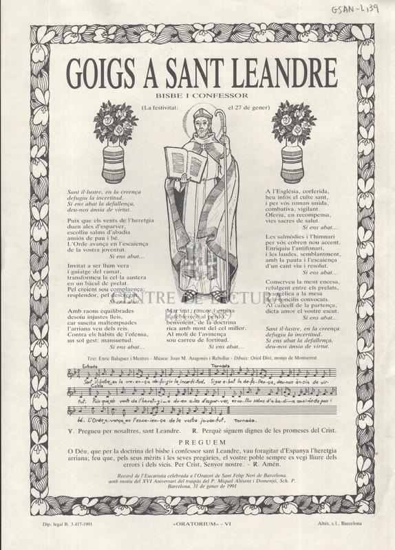 Goigs a sant Leandre bisbe i confessor (La festivitat: el 27 de gener)