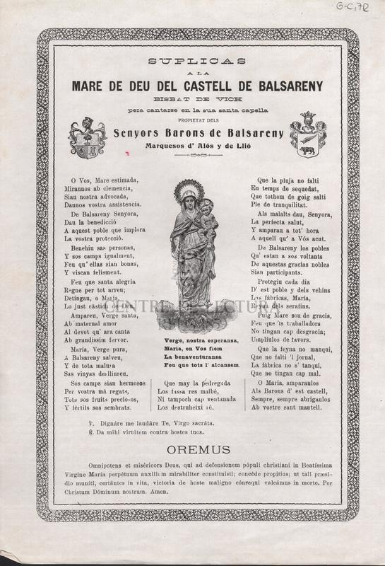 Súplicas a la Mare de Deu del Castell de Balsareny Bisbat de Vich pera cantarse en la sua Santa capella propietat dels Senyors barons de Balsareny Marquesos d'Alós y de Llió