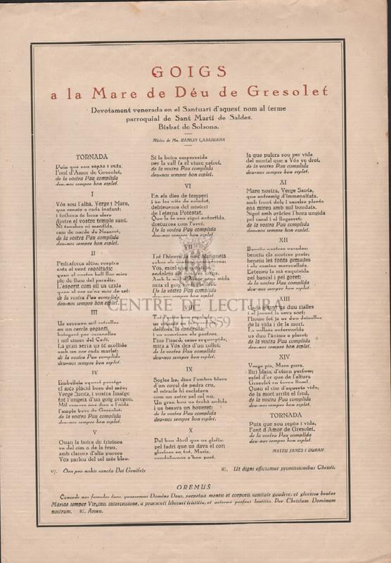 Goigs a la Verge de Gresolet devotament venerada en el santuari d'aquest nom al terme paroquial de Saldes del Bisbat de Solsona