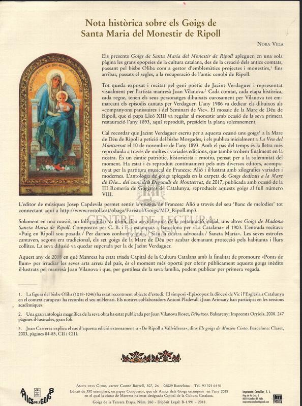 Goigs de Sta. Maria del Monestir de Ripoll