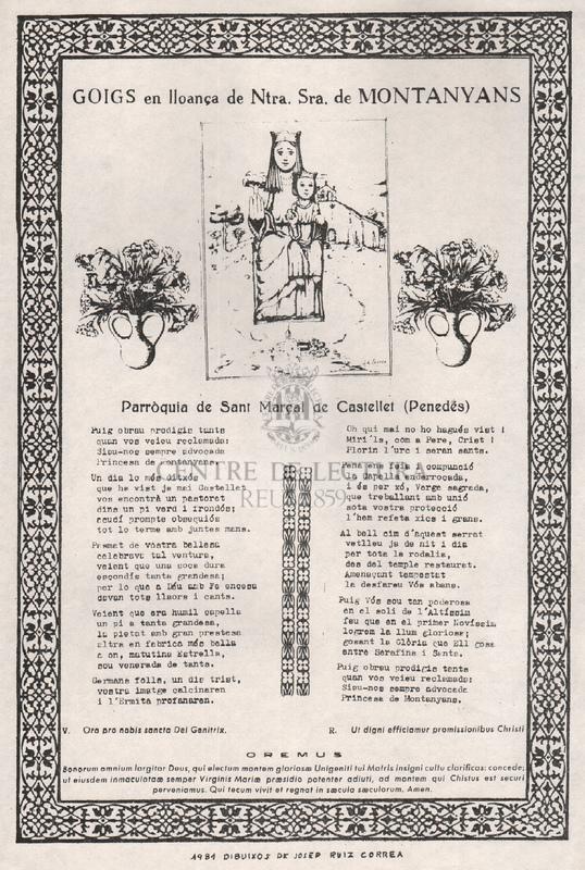 Goigs en lloança de Ntra. Sra. de Montanyans. Parròquia de Sant Marçal de Castellet (Penedés)