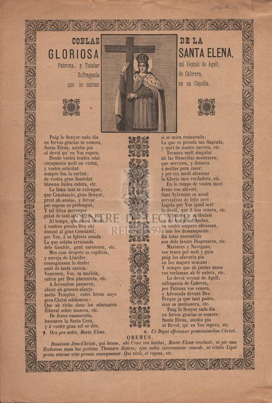 Coblas de la gloriosa Santa Elena, Patrona, y Tutelar del Veynát de Agell, Sufragania de Cabrera, que se cantan en sa Capella.