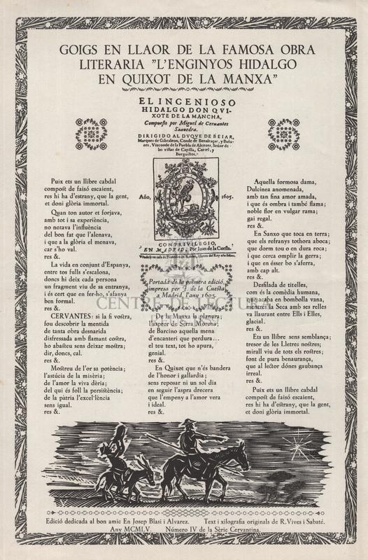 """Goigs en llaor de la famosa obra literaria l""""L'enginyós Hijalgo en Quixot de la Manxa"""""""