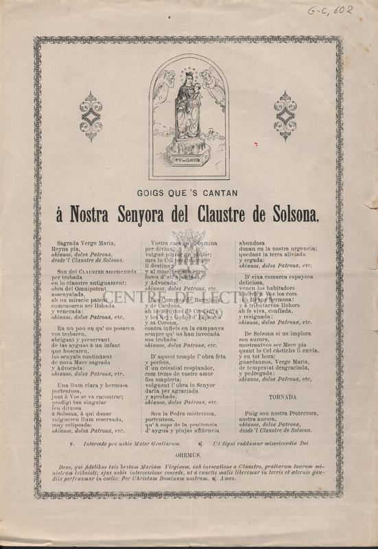 Goigs que's cantan á Nostra Senyora del Claustre de Solsona.