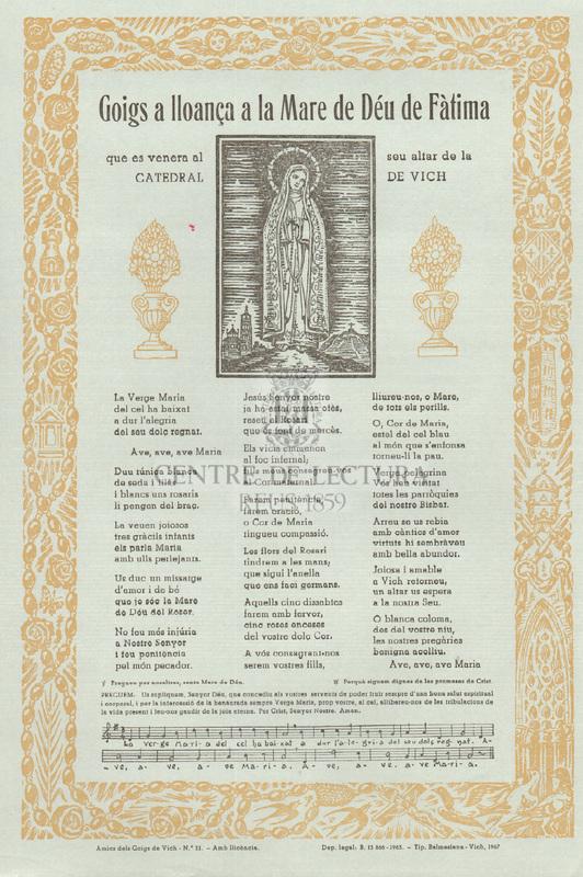 Goigs a lloança a la Mare de Déu de Fàtima que es venera al seu altar de la Catedral de Vich