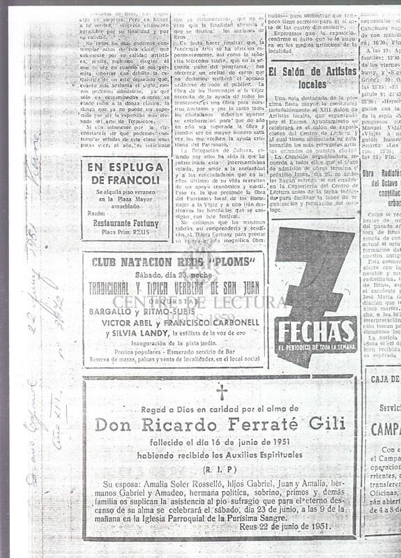 Esquela al Diario Español de la mort de Ricard Ferraté