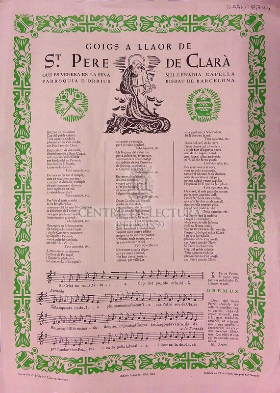 Goigs a llaor de St. Pere de Clarà que es venera en la seva parroquia d'Orrius. Mil·lenària capella, Bisbat de Barcelona