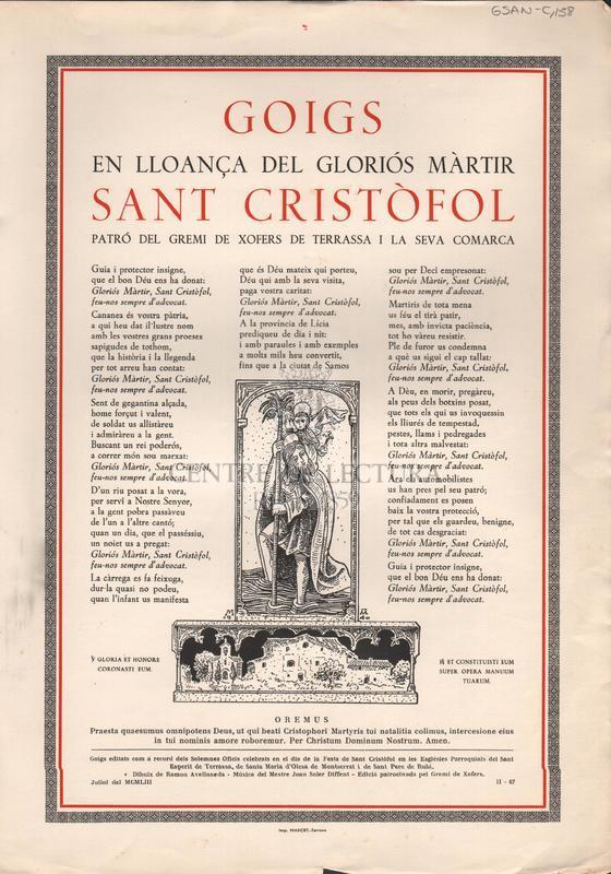 Goigs en lloança dels gloriós màrtir Sant Cristòfol patró del Gremi de Xofers de Terrassa i la seva comarca