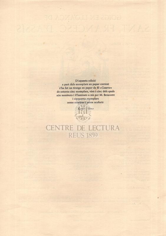 Goigs en lloança de Sant Francesc d'Assís dedicats al poeta-editor en Salvador Torrell i Eulàlia (Torrell de Reus) primer, i fins avui únic, antologista de la poesia lítica franciscana en la llengua de Catalunya