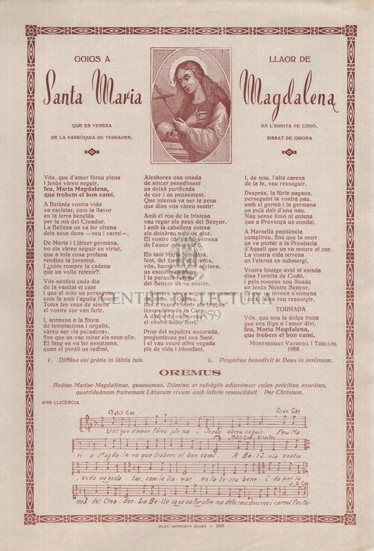 Goigs a llaor de Santa Maria Magdalena, que es venera en l'ermita de Codó, de la parròquia de Terrades, bisbat de Girona
