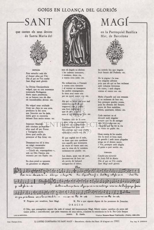 Goigs en lloança del gloriós Sant Magí que canten els seus devots en la Parroquial Basílica de Santa Maria del Mar, Barcelona