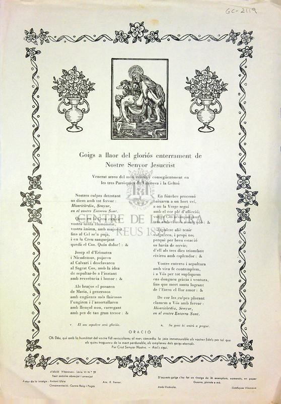 Goigs a llaor del gloriós enterrament de Nostre Senyor Jesucrist venerat arreu del món cristià i consegüent en les tres Parròquies de Vilanova i la Geltrú