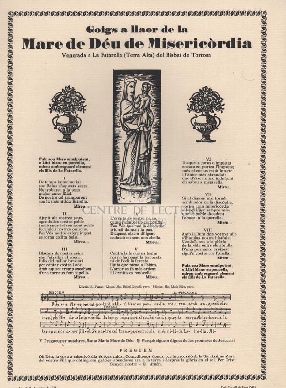 Goigs a llaor de la Mare de Déu de Misericòrdia. Venerada a La Fatarella (Terra Alta) del Bisbat de Tortosa