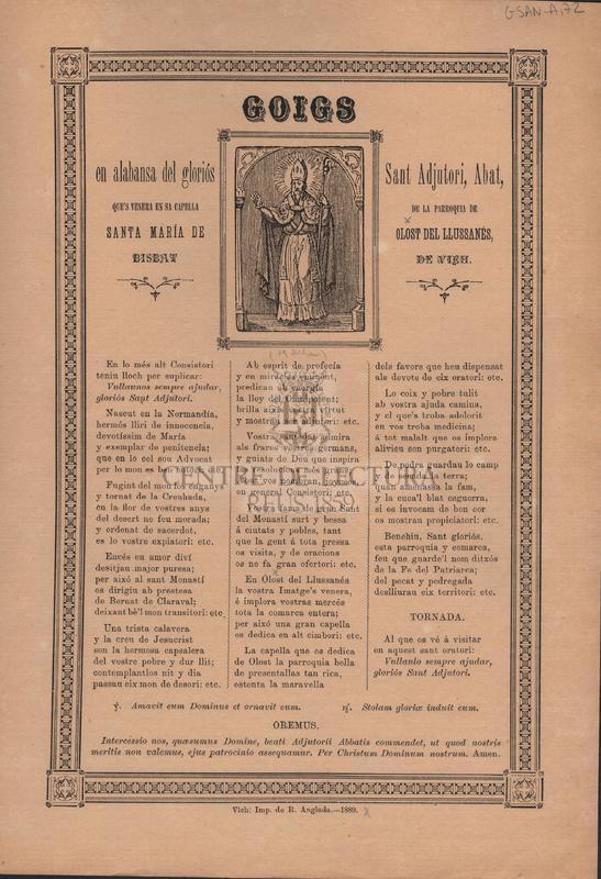 Goigs en alabansa del gloriós Sant Adjutori, Abat, que's venera en sa capella de la parroquia de Santa María de Olost de Llussanés, bisbat de Vich