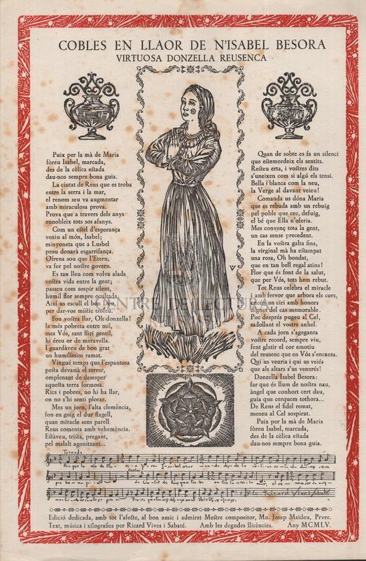 Cobles en llaor de n'Isabel Besora virtuosa Donzella Reusenca