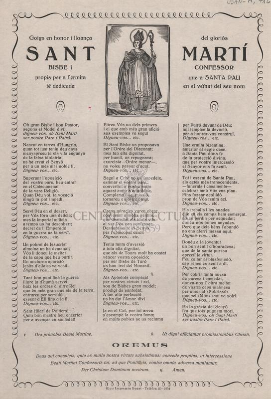 Goigs en honor i lloança del gloriós Sant Martí Bisbe i Confessor propis per a l'ermita que a Santa Pau té dedicada en el veïnat del seu nom