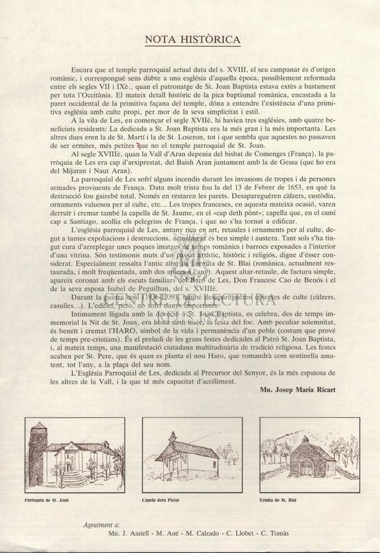 Gòis en aunor de Sant Joan Bautista venerat ena sua Parròquia de Les (Val d'Aran), Bisbat d'Urgell