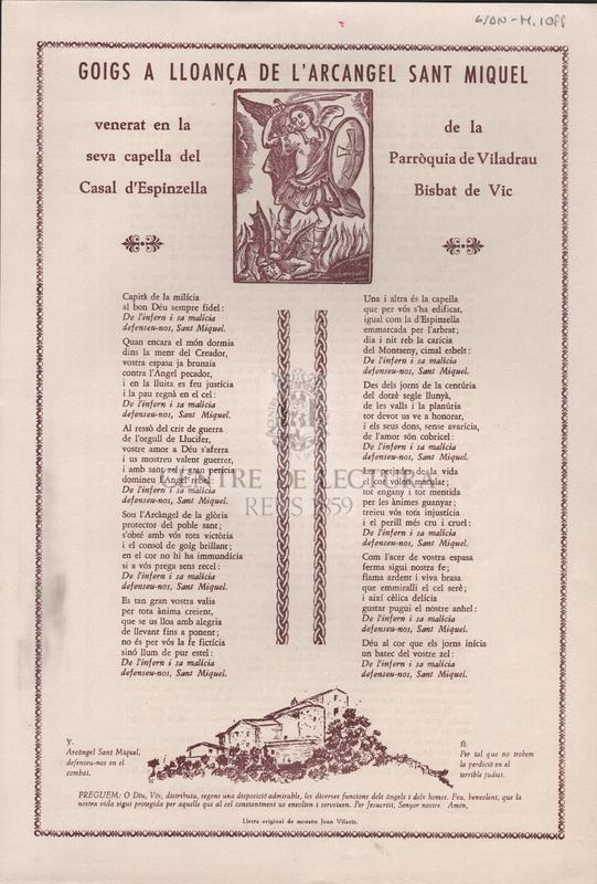 Goigs a lloança de l'arcangel Sant Miquel venerat en la seva capella del Casal d'Espinzella de la Parròquia de Viladrau Bisbat de Vic