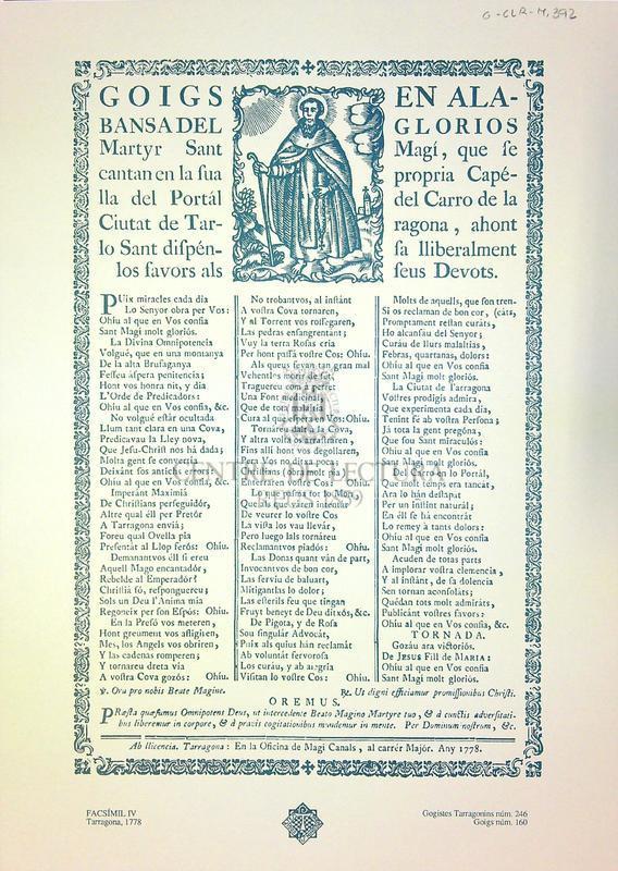 Goigs en alabansa del glorios martyr Sant Magí, que se cantan en la sua propria capélla del Portál del Carro de la Ciutat de Tarragona, ahont lo Sant disapensa lliberalment los favors als seus Devots