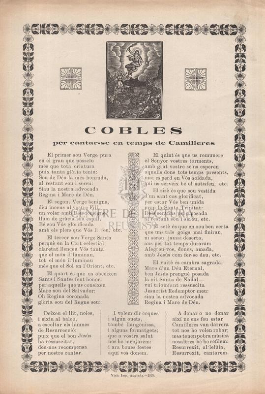 Cobles per cantar-se en temps de Camilleres