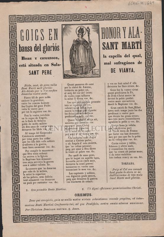 Goigs en honor y alabansa del gloriós Sant Martí. Bisbe y confessor, la capella del qual, está situada en Solamal sufragánea de Sant Pere de Vianya