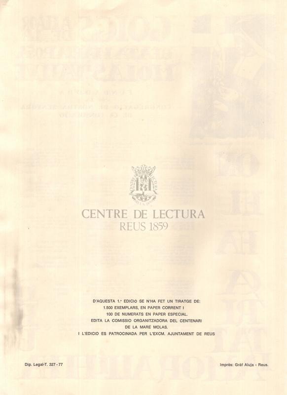 Goigs a llaor de la beata Maria Rosa Molas i Vallvè, fundadora de la Congregació de Nostra Senyora de la Consolació