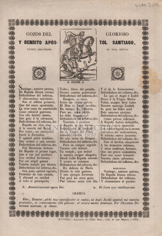 Gozos del glorioso y bendito apóstol Santiago, patron amantísimo de toda España