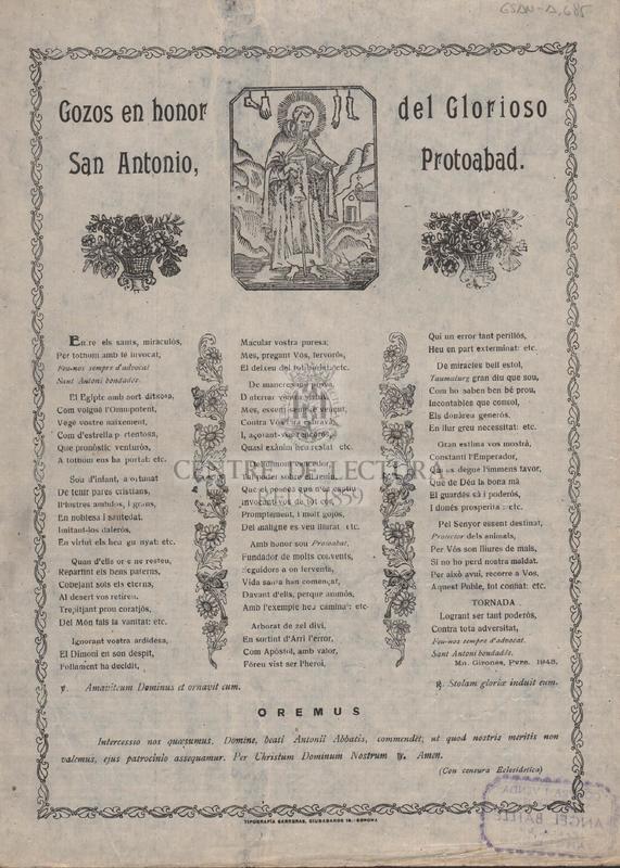 Gozos en honor del Glorioso San Antonio, Protoabad.