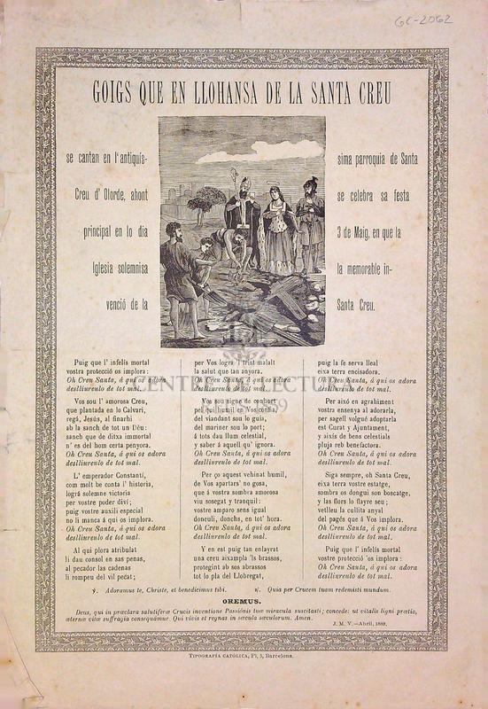 Goigs que en llohansa de la Santa Creu se cantan en l'antiquíssima parroquia de Santa Creu d'Olorde, ahont se celebra sa festa principal en lo día 3 de Maig, en que la iglesia solemnisa la memorable invenció de la Santa Creu
