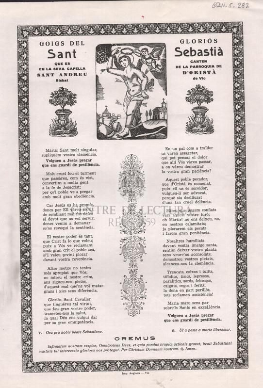 Goigs del gloriós Sant Sebastià que es canten en la seva capella de la parroquia de Sant Andreu d'Oristà, Bisbat de Vic