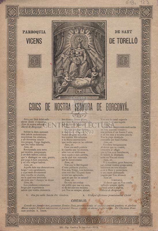 Parroquia de Sant Vicenç de Torelló. Goigs de Nostra Senyora de Borgonyá