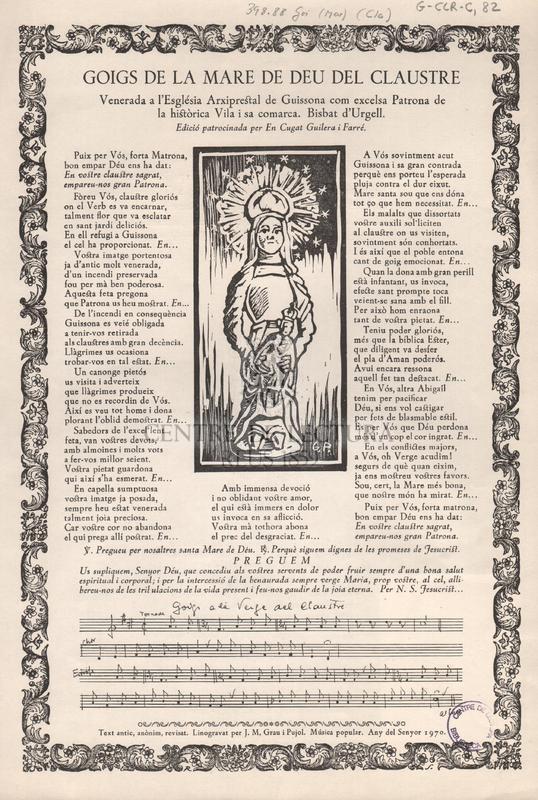 Goigs de la Mare de Deu del Claustre venerada a l'Església Arxiprestal  de Guissona com excelsa Patrona de la Històrica Vila i sa comarca. Bisbat d'Urgell.