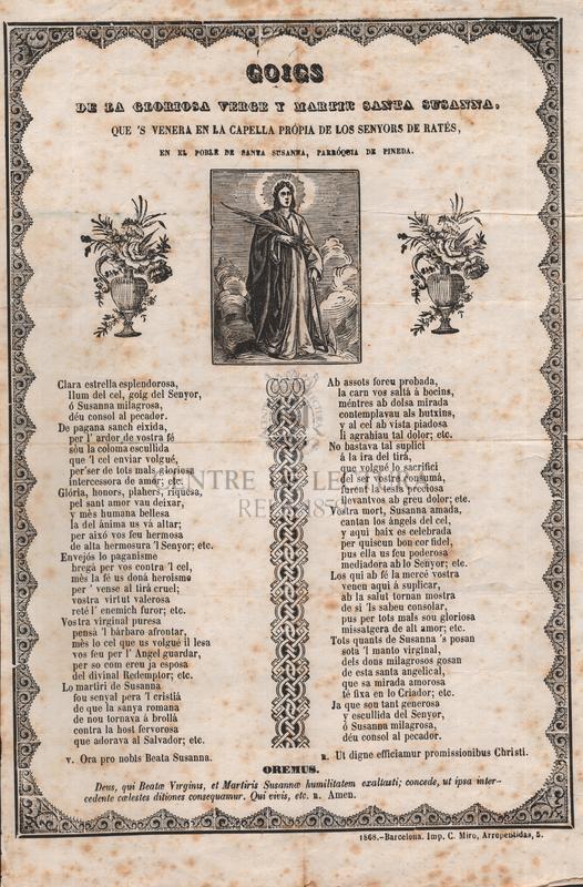 Goigs de la gloriosa verge y martir santa Susanna, que 's venera en la ceplla própia de los senyors de Ratés, en el poble de Santa Susanna, parróquia de Pineda