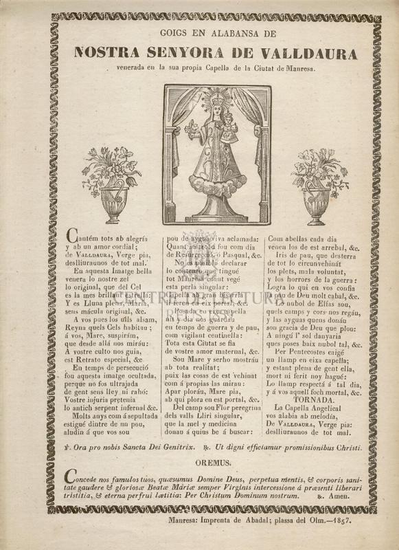 Goigs en alabansa de Nostra Senyora de Valldaura venerada en la sua propia Capella de la Ciutat de Manresa
