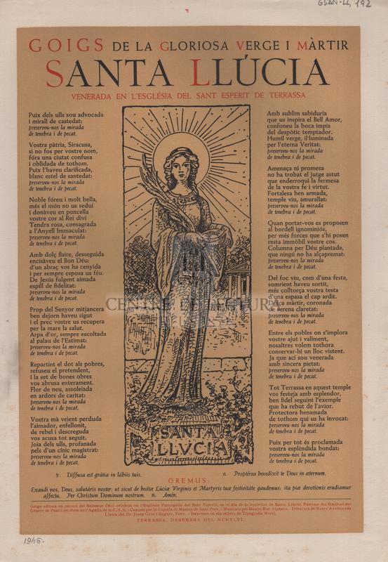 Goigs de la gloriosa Verge i Màrtir Santa Llúcia venerada en l'església del Sant Esperit de Terrassa.