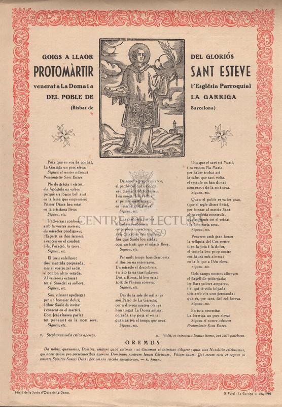Goigs a llaor del gloriós protomàrtir Sant Esteve venerat a La Doma i a l'Església parroquial del poble de La Garriga (Bisbat de Barcelona)