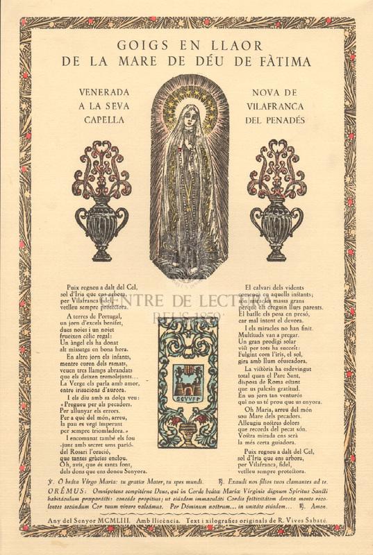 Goigs en llaor de la Mare de Déu de Fàtima venerada a la seva capella nova de Vilafranca del Penadés