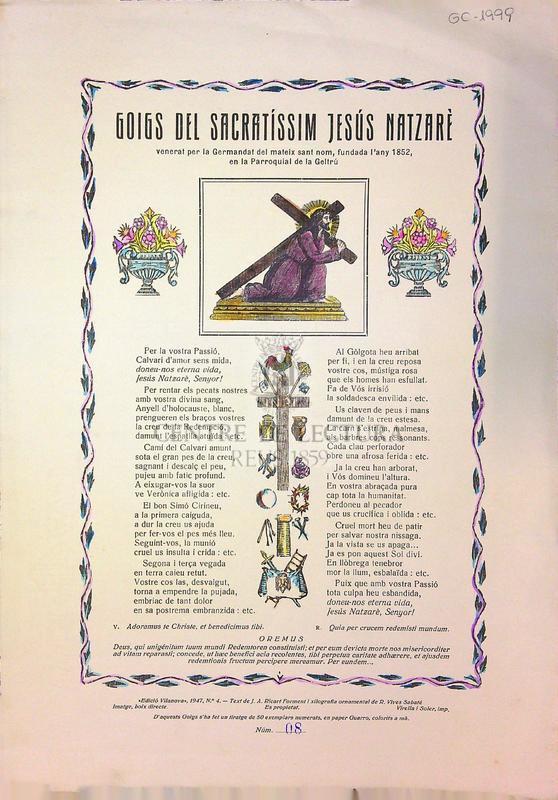 Goigs del Sacratíssim Jesús Natzarè venerat per la Germandat del mateix sant Nom fundada l'any 1852, en la Parroquial de la Geltrú