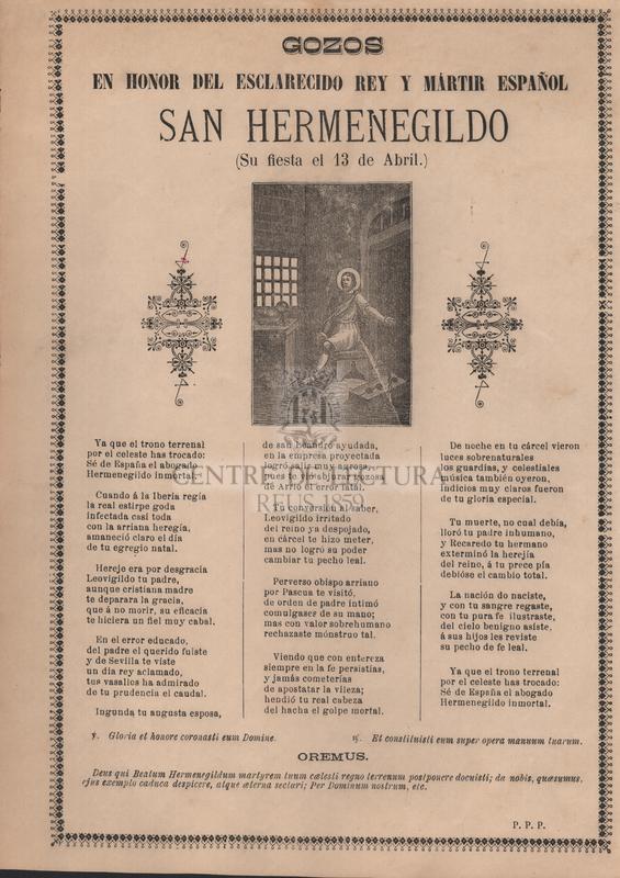 Gozos en honor del esclarecido rey y mártir español San Hermenegildo. (Su fiesta el 13 de abril)