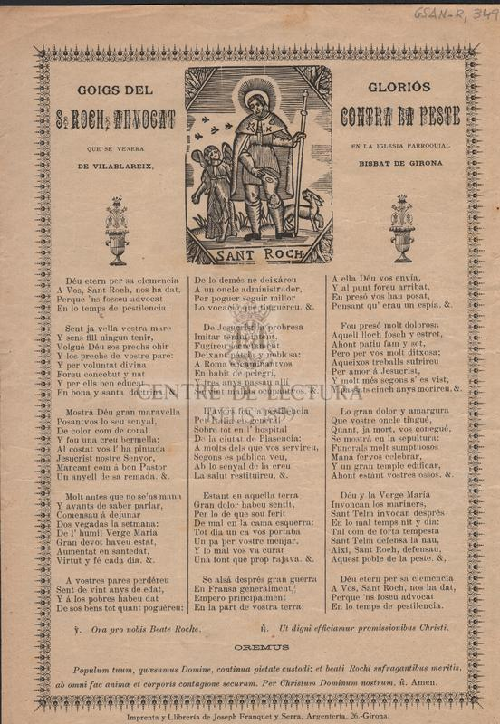 Goigs del gloriós S, Roch, advocat contra la peste que se venera en la Iglesia Parroquial de Vilablareix. Bisbat de Girona