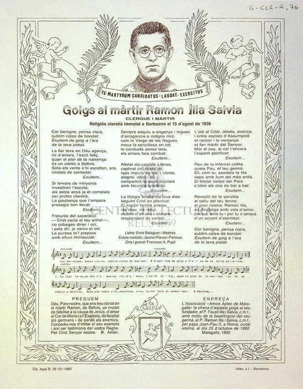 Goigs al màrtir Ramon Illa Salvia clergue i màrtir