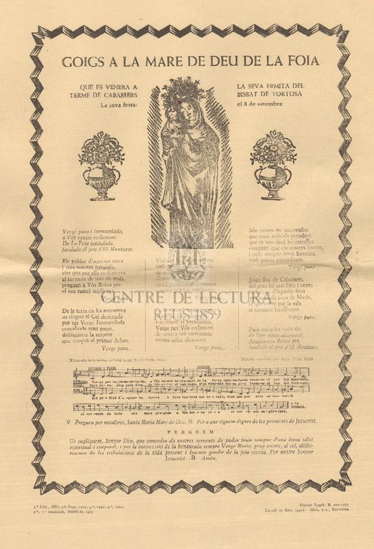 Goigs a la Mare de Déu de la Foia que es venera a la seva ermita del terme de Cabassers, Bisbat de Tortosa