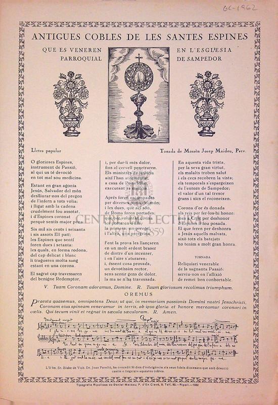 Antigues cobles de les Santes Espines que es veneren en l'esglesia parroquial de Sampedor