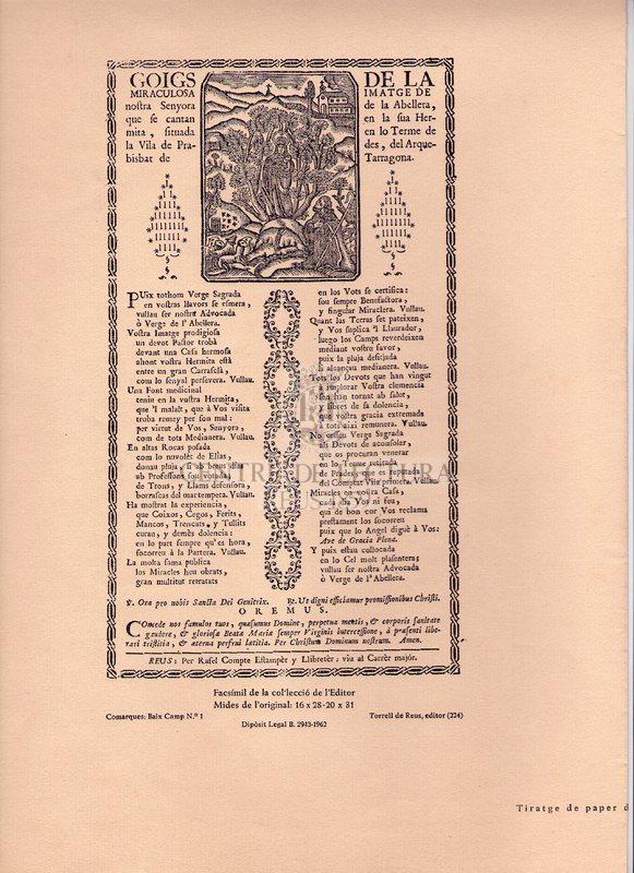 Goigs de la miraculosa imatge de nostra Senyora de la Abellera, que se cantan en la sua Hermita, situada en lo Terme de la Vila de Prades, del Aquerbisbat de Tarragona