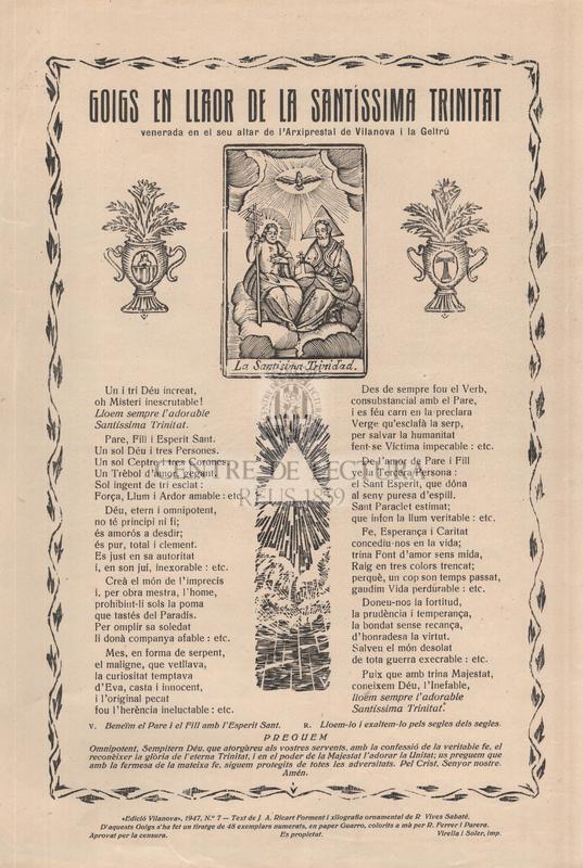 Goigs en llaor de la Santissima Trinitat venerada en el seu altar de l'Arxiprestal de Vilanova i la Geltrú
