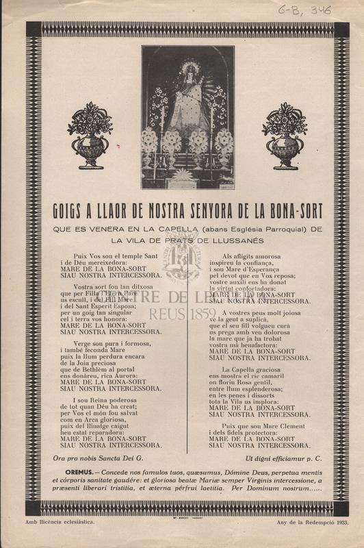 Goigs a llaor de nostra senyora de la Bona- Sort que es venera en la capella (abans Església Parroquial) de la vila de Prats de Llussanés