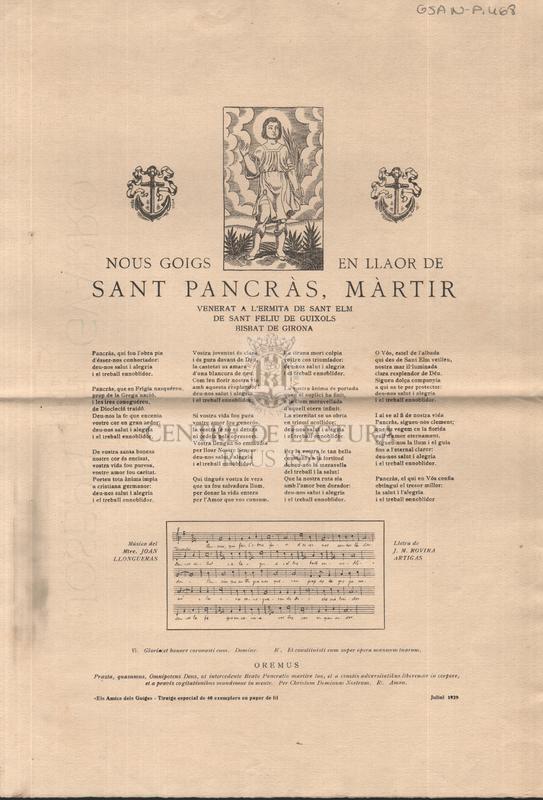 Nous goigs en llaor de Sant Pancràs, màrtir venerat a l'Ermita de Sant Elm de Sant Feliu de Guixols Bisbat de Girona